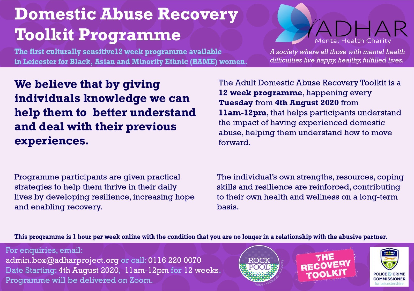 Domestic Abuse Recovery Toolkit Programme Online with Adhar Mental Health Charity