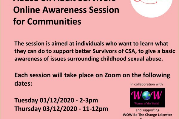Attend Online Awareness Session about the impacts of childhood sexual abuse on adult survivors
