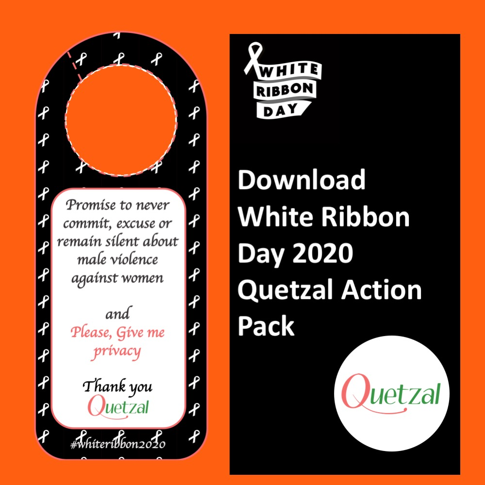 Take part in the White Ribbon Day 2020. Promise to never remain silent about male violence. Ask for Privacy for survivors.