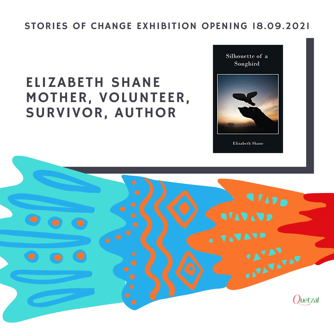 Elizabeth Shane shares her poems at Quetzal Stories of Change Exhibition